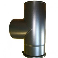 "90 Degree Tee + Cap Stove Flue Pipe 5"" [125mm]"