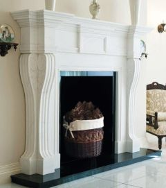 """The De Gaulle Marble Fireplace 65"""" White Carrara Polished"""