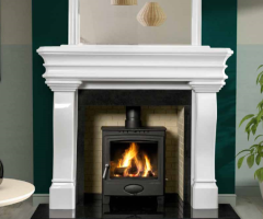 The Carlingford Marble Fireplace Surround Polished Polar White