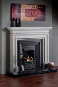 Traditional Bolection White Carrara Marble Fireplace