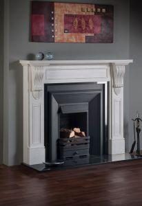 William IV White Carrara Honed Marble Fireplace