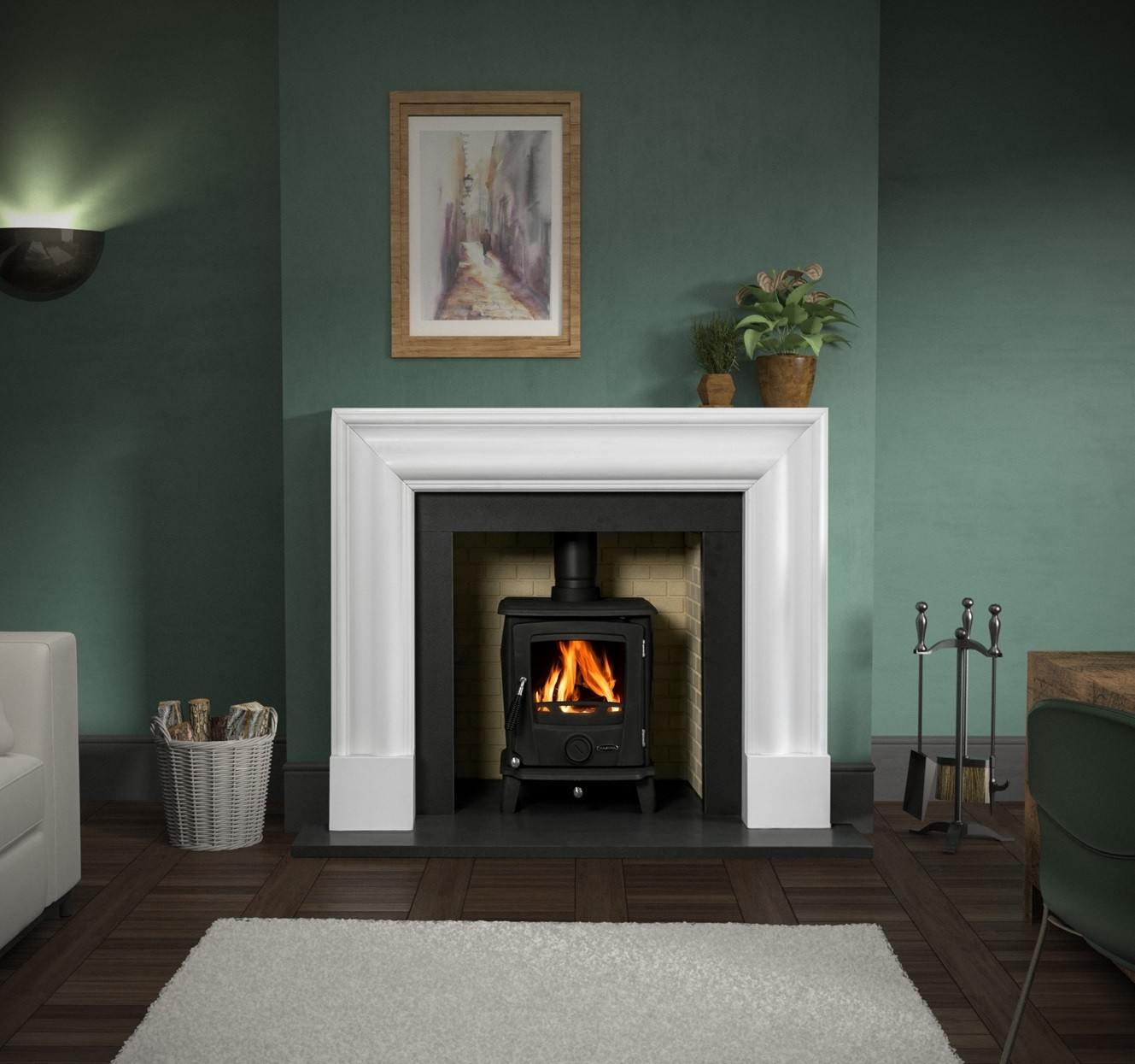 Honed Polar White Marble Fireplaces
