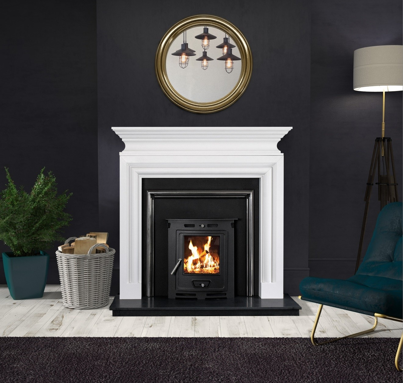 Polished Polar White Marble Fireplaces
